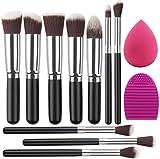 Eono by Amazon - Set de Brochas de Maquillaje Profesional, Synthetic Kabuki Premium para Base Polvos Colorete Contorno, con Esponja y Limpiador de Cepillo (10+2 Piezas, Negro/Plateado)