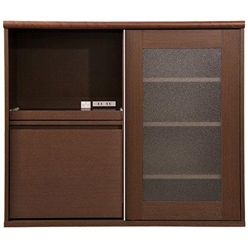 シンプルでおしゃれなガラス引き戸食器棚 ダークブラウン 105cm×45cm×90cm 幅広ワイドタイプ・ハイタイプ(レンジ台・家電収納棚)