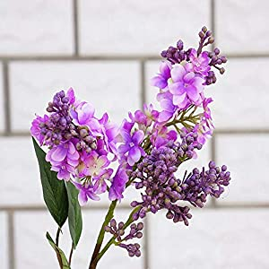 YSQSPWS Artificial Flowers Silk Lilac Fake Flowers Home New Year Decoration Accessories Wedding Party Bride Bouquet DIY Material Cheap Artificial Flowers Simulation (Color : Purple)