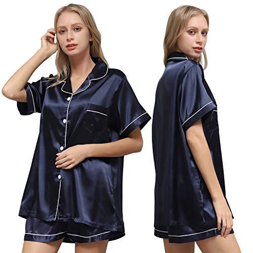 Ladieshow Pijamas Satén para Mujer, Pijamas Mujer Verano Manga Corta Conjunto de Pijamas Seda para Mujer, Camisón para Mujer 2 Piezas Ropa de Dormir con Botones Suave y Cómodo