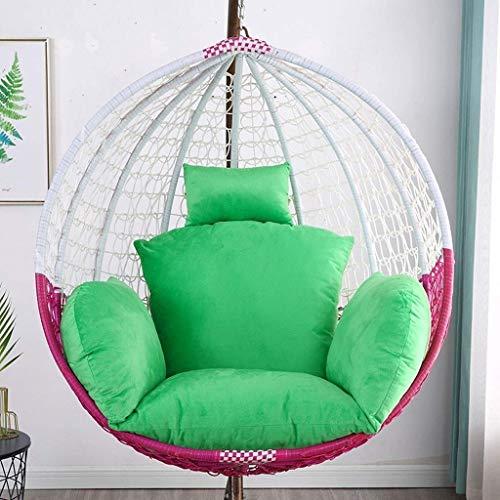 Yuany Eier-hangmat-stoelkussen verdikt u het hangende stoelkussen met kussen voor de hangende tuinstoel voor binnen en buiten, breedte: 155 cm (kleur: groen)