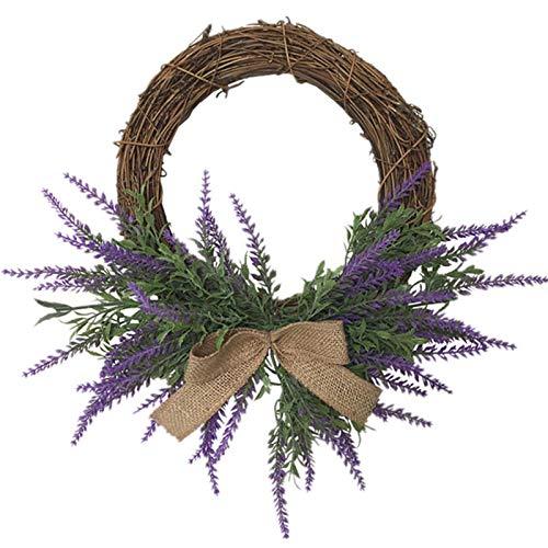 Artificial Lavender Wreath, Bowknot Lavender Wreath Heart Shaped Artificial Lavender Wreaths