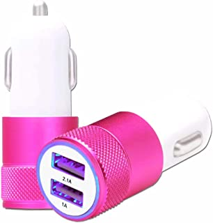 Lenovo K6 Note Car Cigarette Lighter Charger USB Pink Dual Ports Ultra Fast USB X2 Car Charger 12/24 V