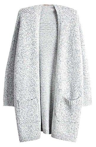 Fuxiang Cardigan Sweater Damen Pullover Lange Longpullover Grau Grauer Pullover Winterjacke Strickpullover Frauen Winterpullover Mantel Winter Herbst M