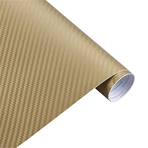 NYSCJJJ 30 cm127cm 3D Kohlefaser Vinylfilm 3M Auto Aufkleber wasserdichte DIY Motorrad Automobile Auto Styling Wrap Roll Zubehör (Color : Gold)