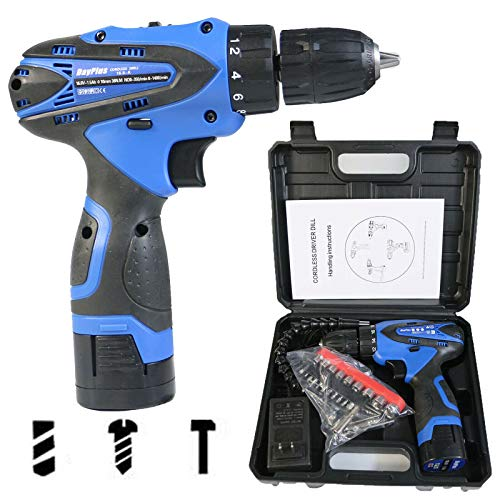 Electric Impact Drill Driver Cordless Drill with Carrying Bag LED Work Light Fast Charger for tighten loosen screws/nuts/Punching/wall punching/wood board(16.8V/1500mAh Li-Ion Battery/45Nm Max Torque)