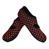 Nufoot Mary Janes Women's Exercise & Dance & House Shoes, Foldable & Flexible Flats, Indoor & Travel Slippers, Slipper & Yoga Socks, Black/Red Polka Dots, Large, W 7-10, 2 Count