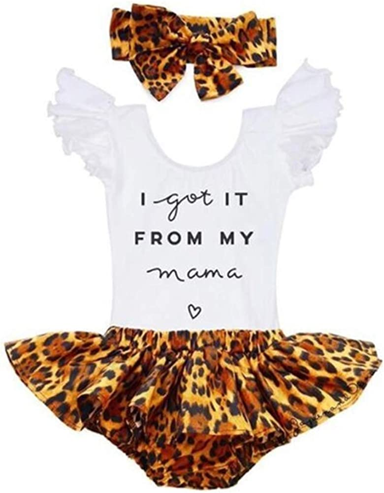 Newborn Baby Girl Summer Leopard Outfits Ruffle Romper Onesie and Tutu Bloomer Shorts 3PCS Cute Clothes Set