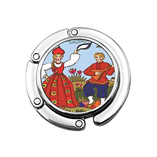 Percha de Monedero Plegable Linda para Mesa, Gancho de Monedero Baile Tradicional Ruso Tradicional Mujer y Hombre Hecho