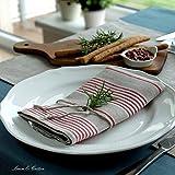 Linen & Cotton 4 x Luxus Stoffservietten ULLA – 100% Leinen (43 x 43cm) Natur/Rot - 2