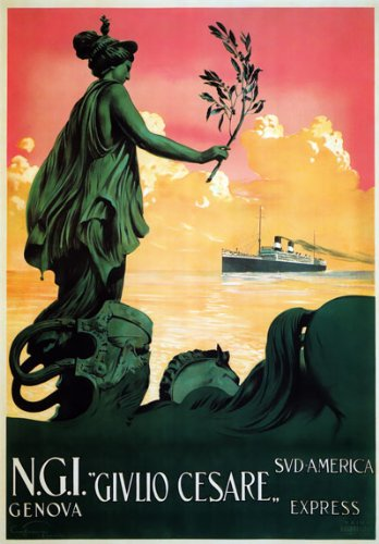 """TX229 Vintage Italy Italian Givlio Cesare Genova Shipping Cruise Travel Poster Re-Print - A3 (432 x 305mm) 16.5"""" x 11.7"""""""
