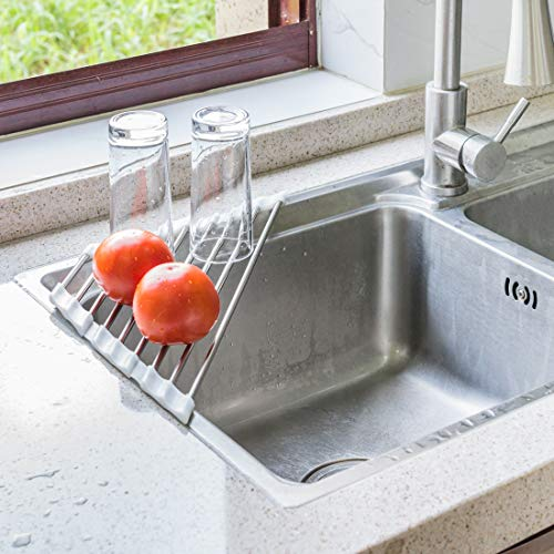 Annaklin Roll Up Dish Drying Rack for Sink Corner, Triangle Heavy Duty Heat Resistant Over The Sink Drying Rack Roll-Up Drainer Mat with White Silicone Grips and Stainless Steel Pipes, 17.5x9.2 inch