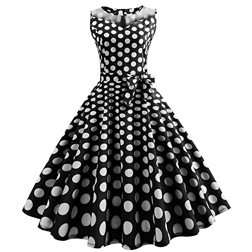 OverDose Damen Urlaub Strand Stil Frauen Vintage Dot Bunte Druck Sleeveless Mesh Patchwork Abend Party Bar Dating Schlank Swing Kleid Rock Dirndl(Schwarz,EU-32/CN-S )
