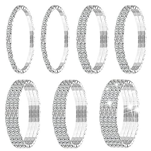 7 Pulseras Elásticas de Diamantes de Imitación Brazalete de Tenis Pulsera de Plata de Diamantes de Imitación Apilable Joyería de Boda para Mujeres Niñas Nupcial