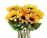 Artificial Sunflower Bouquet,Silk Sunflowers Yellow Flower for Home Decoration Wedding Bridal Bouquet Decor (2)