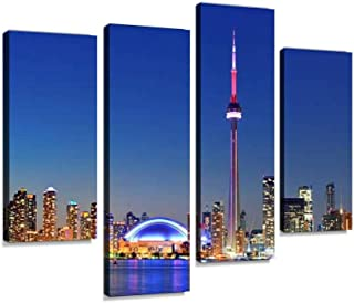 YKing1 Toronto Skyline Wall Art Painting Pictures Print On Canvas Stretched & Framed Artworks Modern Hanging Posters Home Decor 4PANEL