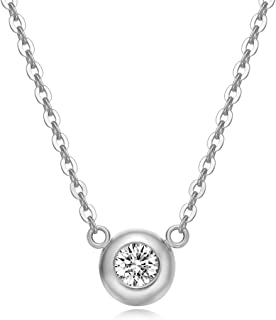 Solid 18K Gold Solitaire Bezel Setting 0.1cttw Diamond Dainty Delicate Pendant Neckace for Women Girls, 16+2