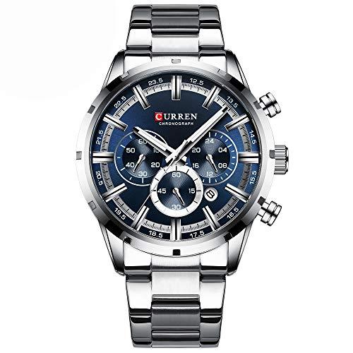 Curren 8355M Herren Quarzuhr Edelstahlband Mode Multifunktions Armbanduhr 3ATM Leuchtanzeige Chronograph Kalender Datum Uhren
