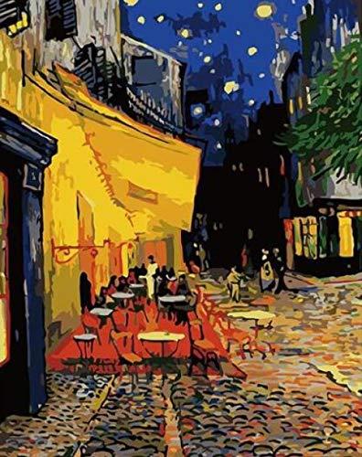 WYTCY Pintar por Números - Van Gogh Cafe Terrace. Pintura Al Óleo De Lienzo De Lino, Pintura De Arte Moderno, Kit De Pintura De Bricolaje, Adecuado para Adultos Y Principiantes40*50CM