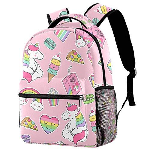 LAZEN Druck Rucksack Einhörner Eis Camping Daypack Bookbag für Girl Boy College School Travel Lightweight