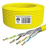 HB-DIGITAL 25m Netzwerkkabel LAN Verlegekabel Ethernet Kabel Cat 7 Kupfer Installationskabel Profi S/FTP PIMF LSZH Halogenfrei Gelb RoHS-Compliant cat. 7 Cat7 AWG 23/1
