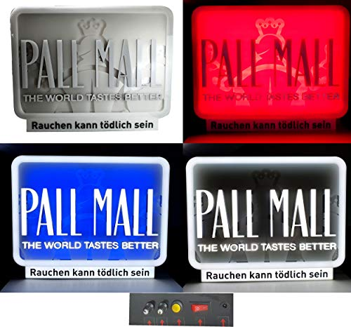 Mixcompany Pall Mall Leuchtschild - Werbeschild/Werbetafel/Leuchtreklame LED Beleuchtet mit Netzteil / 3 Farben verstellbar/Weiß - Blau - Rot