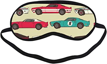 All Polyester Car Cartoon Retro Fashion Design Trend Color Hand Drawn Doodle Sleeping Eye Masks&Blindfold by Simple Health with Elastic Strap&Headband for Adult Girls Kids and for Home Travel