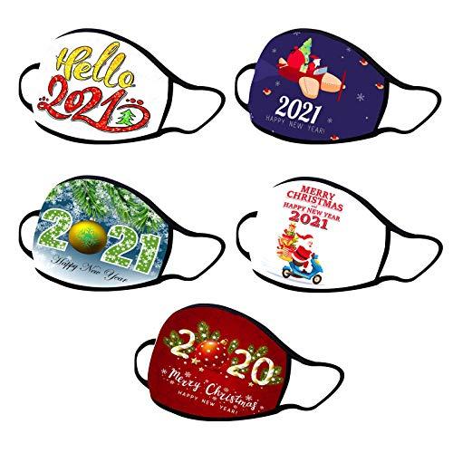 1/5 Stück 2021 Happy New Year Baumwolle Mundschutz Erwachsene Wiederverwendbar Waschbar Atmungsaktiv Mundschutz für den Außenbereich Freien (5 Stück, F)