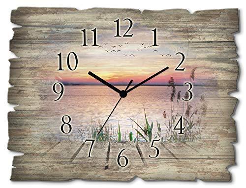 Artland Wanduhr ohne Tickgeräusche aus Holz Funk Uhr lautlos rechteckig 40x30 cm Querformat Natur Landschaft Meer See Blau Vögel Sonne Wolken T9QD