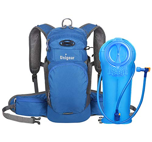 Unigear Hydration Packs Backpack with 2L Water Bladder Reservoir, Thermal Insulation Pack Keeps Liquid Cool up to 4 Hours for Running, Hiking, Climbing, Cycling (Blue)