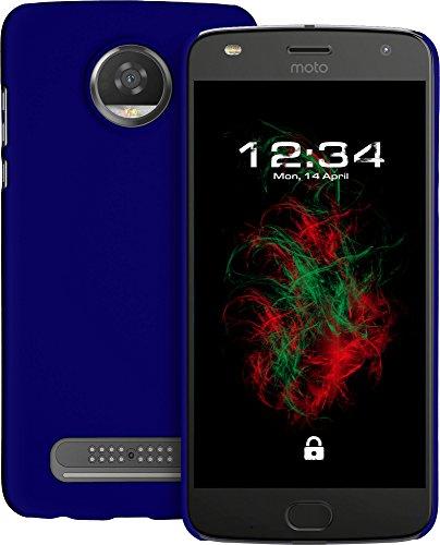 Baluum Hardcase gummierte Blaue Hülle für Motorola Moto Z2 Play Schutzhülle Hülle Cover Handyhülle Backcover Hartschale aus robusten Kunststoff