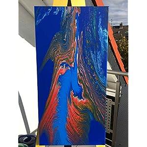 Acryl Pouring Bild I 40 x 80 x 2 cm I original handgemaltes Einzelstück I blau rot, silber I Keilrahmen I moderne Kunst…