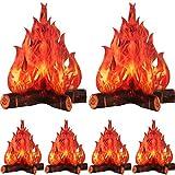 Fogata de Cartón Decorativa 3D Fuego Artificial de Centro de Mesa Llama Falsa Fiesta de Papel Decorativa Antorcha de Llamas (6 Set)