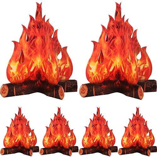 3D Decorative Cardboard Campfire Centerpiece Artificial Fire Fake Flame Paper Party Decorative Flame Torch (Red Orange, 6 Set)