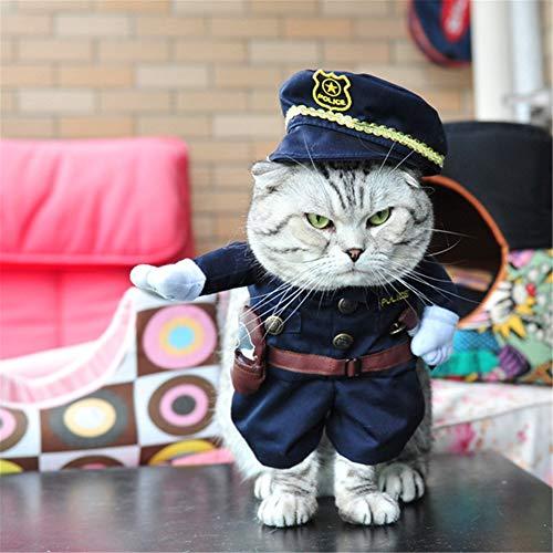 ZFFLYH Politie Stijl Grappige Halloween Hond Kat Grappige Feest Kostuum Hond Jumpsuits Huisdier Hond Kleding Rol Speel Huisdier Hond Kleding