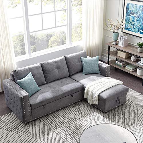 AMYMGLL Simple Diseño Moderno Muebles De Sala De Estar Cómoda Tela L Forma Sofá Cama, Sofá-Cama De Esquina con Almacenamiento
