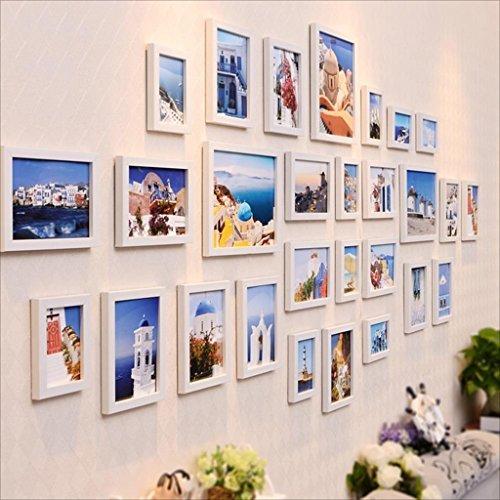 Cadre Ensemble de cadre multi-images, cadre photo, cadre mural avec 28 cadres de haute qualité, grand ensemble de cadre photo, meilleurs décorations murales Décoration d'intérieur ( Couleur : Blanc )