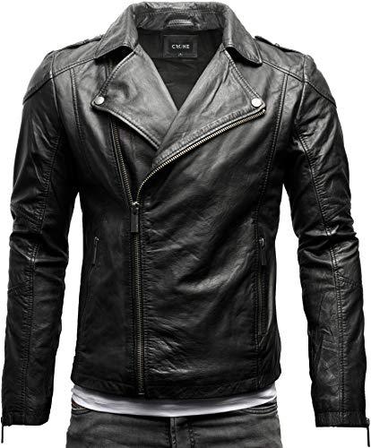 Crone Theo Herren Lederjacke Basic Biker Jacke aus weichem Rindsleder (L, Heavy Washed Black (Rindsleder))