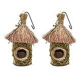 Namvo 2 cajas de nido de hierba tejida a mano para decoración de jardín (cabaña).