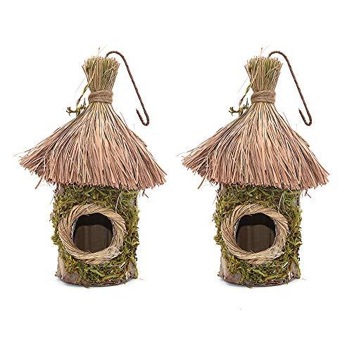 Namvo 2 scatole per uccelli in paglia intrecciate a mano, per decorazione del giardino della casa