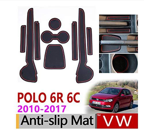 linfei Alfombrillas De Goma Antideslizantes Alfombrilla para Ranura De Puerta para VW Polo 6R 6C 2010-2017 Mk5 Volkswagen GTI Accesorios