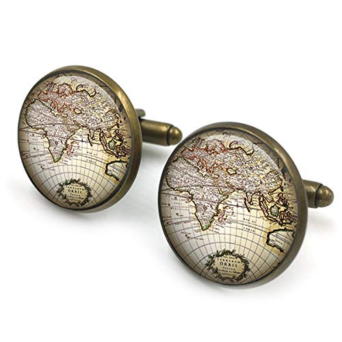 Antike Bronze Vintage Karte Manschettenknöpfe| antike Karte Manschettenknöpfe| alte Karte| Manschettenknöpfe| Weltkarte| Messing Kompass| Trauzeugen Geschenk| Geschenk für Männer| Geschenk für