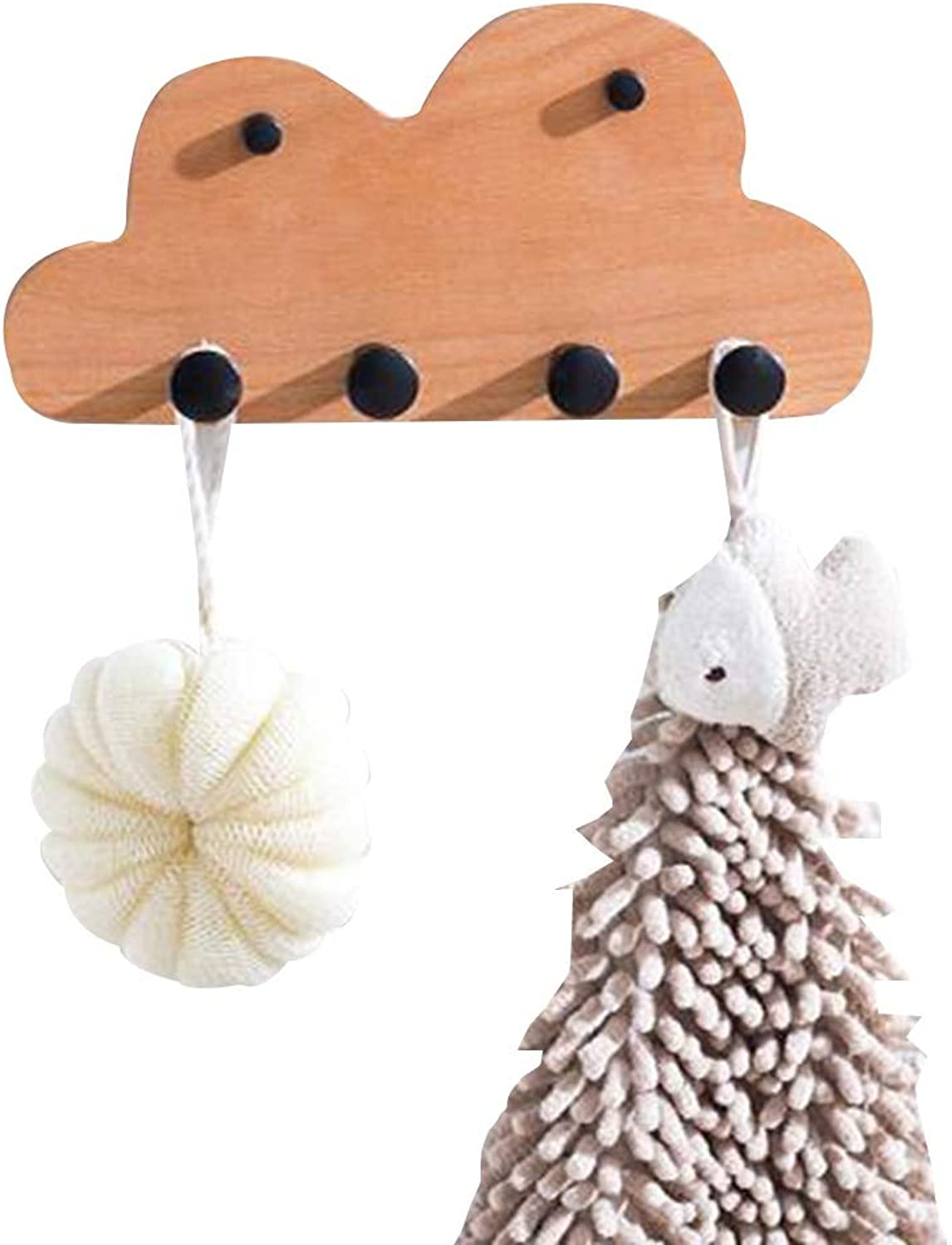 JIAYING Cloud Shape Wall-Mounted Coat Rack, Wooden Hat Rack Entryway Bathroom Organizer with 4 Hooks,for Garment, Hats, Scarves and Umbrellas