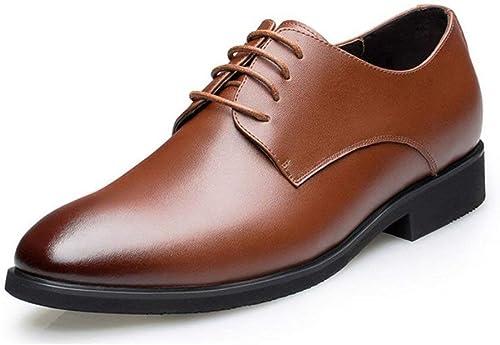 Hhor Hhor Chaussures habillées pour Hommes, Chaussures de Ville élégantes et décontractées en Cuir à Lacets, Bureau de Bal d'étudiants, Brun, 44 (Couleuré   comme montré, Taille   Taille Unique)  abordable