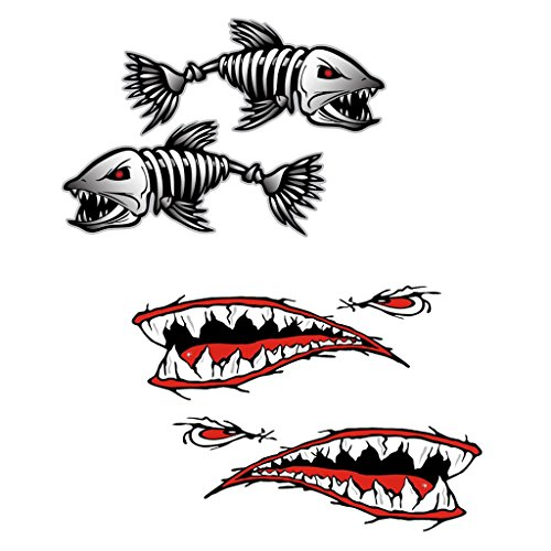 Gazechimp 4 Piezas de Pegatinas Etiquetas de Dientes de Tiburón Esquelético Pescados para Kayak Coche Caravana Canoa Barco de Pesca