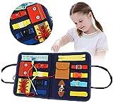 Hilai Busy Board pour Enfant Jouet Montessori, Jouet Éducatif pour Apprendre Les Boutons Boucles Fermeture à glissière Lacets et Cravates pour 1 2 3 4 Ans Garçons Filles--Bleu Foncé (Bleu)