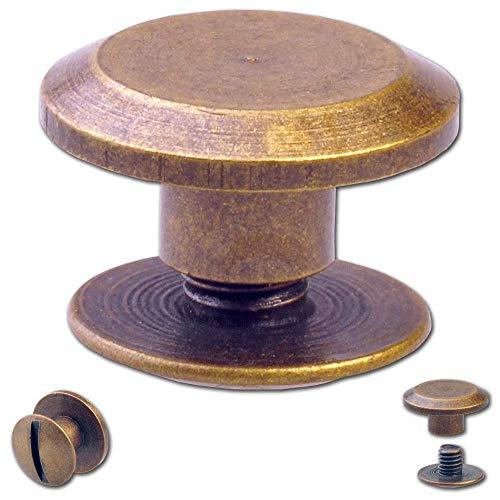 Hoppe & Masztalerz 25 Schraubnieten Gürtelschrauben Buchschrauben Chicagoschrauben Nieten zum Schrauben 3MM Messing-antik
