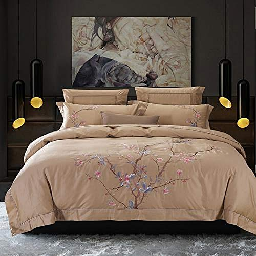 TYDH 30 4/6Pcs Egypt Cotton plum blossom Bedding Set embroidery Duvet cover set Bed Sheet Pillowcases Queen King Size SDE1 Queen size 6pcs