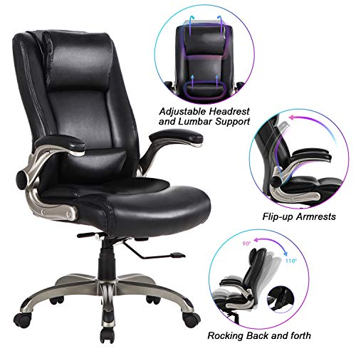 Office Chair High Back Leather Executive Computer Desk Chair - Adjustable Lumbar Support, Slidable...
