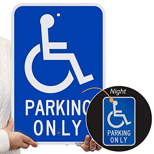 "SmartSign Basics Handicap Parking Only Sign | 12"" x 18"" Engineer Grade Reflective ACM"